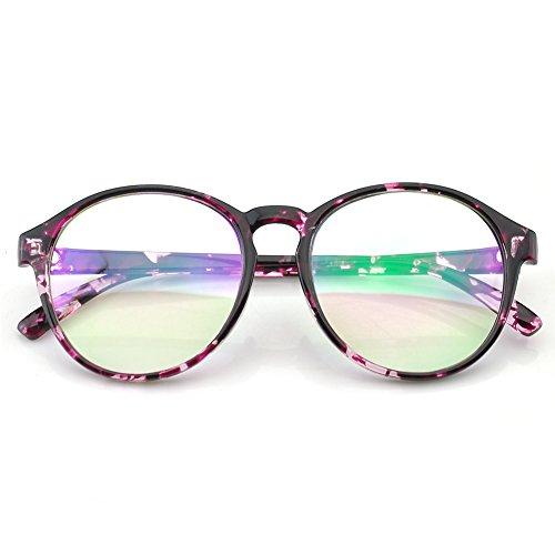 PenSee Womens Oversized Frame Inspired Horned Rim Clear Lens Circle Eyeglasses (Purple Splash) (182 Eyeglasses)