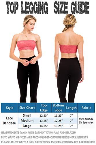 bc8e3b9695775 TL Women s Full Floral Lace Strapless Seamless Stretchy Bandeau Tube Bra Top  Black Medium
