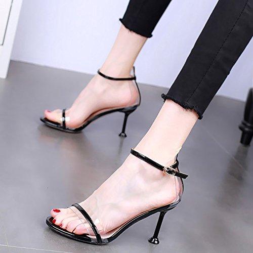 HBDLH Verano De 8 Cm De Tacon Zapatos De Tacon Fino Transparente Sandalias Dedos De Los Pies Sexy Una Palabra Hebilla Gato Y Zapatos De Mujer. black