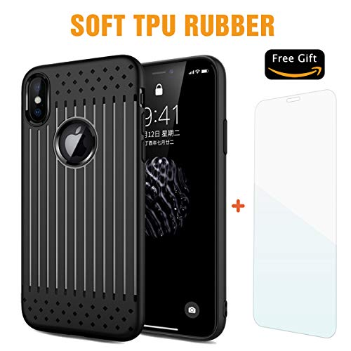 Comet Cell Phone - COMET iPhone Xs Max Black Case, Embossed Stripe Pattern TPU Soft Cover, Ultra-Thin Protective Shockproof with Precise Holes | 6.5 Inch | + Free Tempered Glass and Wristband Gift