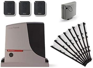 Nice ROBUS 500 HS (RB500HS motor + SMXI receptor + 3 X ON2E transmisores) para el accionamiento rápido de puertas correderas de hasta 8 m o 500 kg, 24 Vdc + 8m Cremallera nylon: Amazon.es: Bricolaje y herramientas
