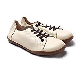 Dahanyi Stylish Women Shoes Flat Authentic Leather Plain toe Lace up Ladies Shoes Flats Woman Moccasins Female Footwear beige 7