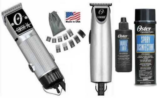 Combo Limited Edition Oster 76 and T Finisher Silver and a 4 oz lubricating oil and a 10 piece universal comb guide set and 16 oz disinfectant Clipper and Trimmer. (Oster Oil)
