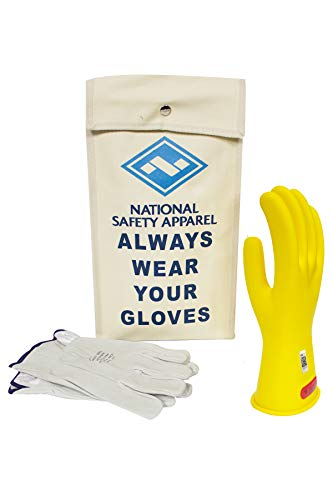 - National Safety Apparel Class 0 Yellow Rubber Voltage Insulating Glove Kit with Leather Protectors, Max. Use Voltage 1,000V AC/ 1,500V DC (KITGC011Y)
