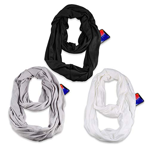 ((3 Pack) Infinity & Soft Scarf with Hidden Zipper Pocket Bundle Set | Winter Spring Summer Fall Autumn Lightweight Fashion Pattern Scarf, Travel Accessories for Women Girls Ladies)