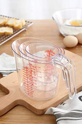 - Magic Kitchen 3 Piece Plastic Measuring Cups Set- BPA Free Liquid Nesting Stackable Measuring Cups - includes 1, 2 and 4 Cup with Ml and Oz Measurement