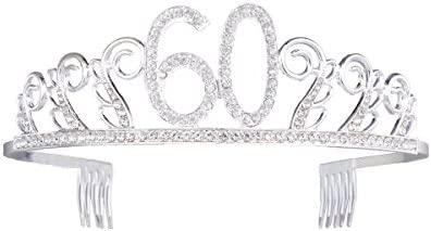 Corona de cristal Tiara para cumpleaños 60 cumpleaños (plata ...