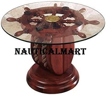 NauticalMart 24 Glass Ship Wheel Decorative Table