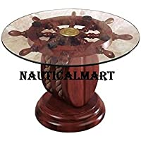 24 GLASS SHIP WHEEL DECORATIVE TABLE BY NAUTICALMART
