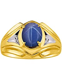 Mens Ring with Oval Shape Gemstone & Genuine Sparkling Diamonds in 14K Yellow Gold Plated Silver .925-9X7MM Color Stone
