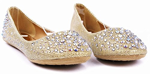 Scarpe Jjf Larisa Bling Scintillante Strass Glitter Slip Fannullone Balletto Scarpe Piatte Champagne
