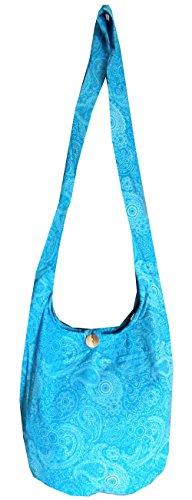 Hippy (tamaño mediano) cachemir mujer Hippie Festival playa bolsa bolso boho algodón azul celeste