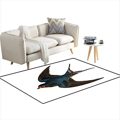 Kids Carpet Playmat Rug Barn Swallow Hand Coloured Engraving ()