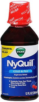 (Vicks NyQuil Cold Flu Nighttime Relief Liquid Cherry - 12 oz, Pack of)