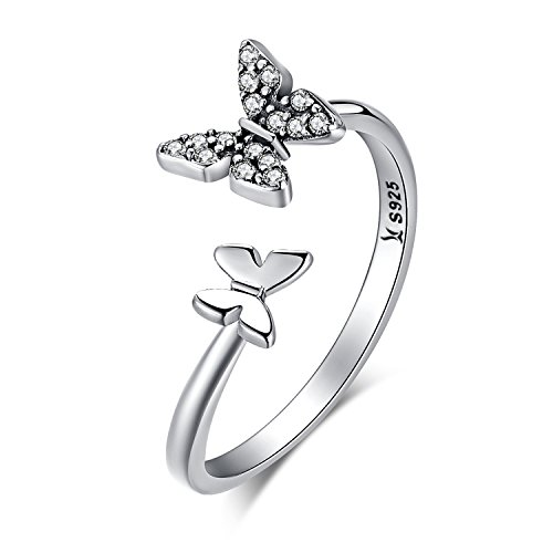 XOYOYZU 925 Sterling Silver Butterfly White Birthstone CZ Ring Expandable Open Rings Adjustable for Women Jewelry (Sterling Silver Ring)