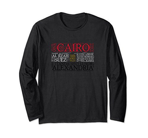 Luxor Dinner - Unisex Egypt Flag with City Names Word Art Long Sleeve T-Shirt Small Black