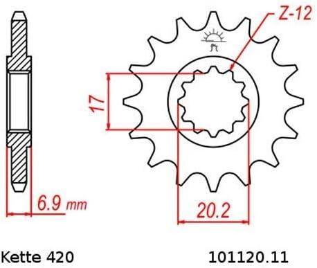 Kettensatz geeignet f/ür CPI SM 50 Supermoto 03-10 Kette RK CG 420 SB 136 offen GR/ÜN 11//62