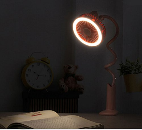 Adjustable Clip Fan with Night Light, Rechargeable Battery USB Mini Desktop Table Fan Flexible Neck Goose 360 Degree Personal Handheld Fan for Baby Stroller Home Dorm Office Travel (Pink, With Light) by BXT (Image #7)