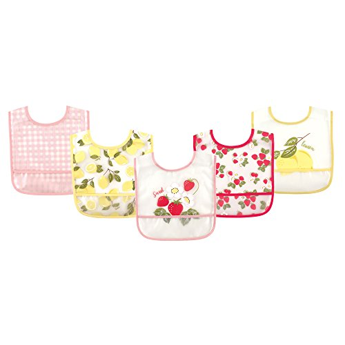 (Hudson Baby Waterproof Bib with Crumb Catcher Pocket, Strawberries & Lemons )