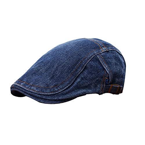 Yosang Classic Adjustable Newsboy Cap Jeans Ivy Flat Hat Dark Blue