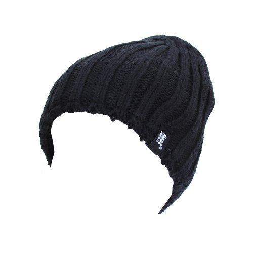 Men's Heat Holders Plain Ribbed Knitted 3.4 tog Thermal Winter Beanie Hat Black (Heat Holders Thermal Hat compare prices)