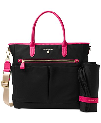 MICHAEL Michael Kors Kelsey Large Diaper Bag (Black/Ultra Pink) ()
