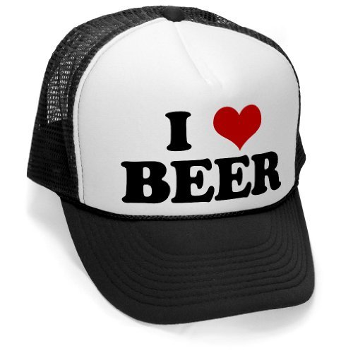I HEART BEER - funny joke party gag Mesh Trucker Cap Hat, Black Beer Black Cap