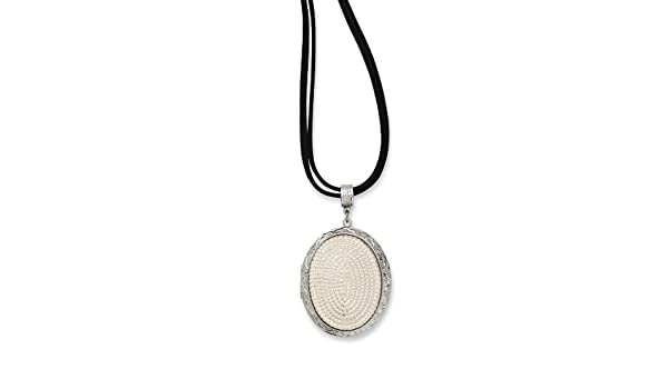 1928 Jewelry Silver-Tone Glass Pearl Oval Locket on 30 Double Cord Necklace
