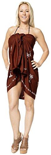 bordado palmera encubrir sarong vestidos de la falda del traje de baño ropa de playa envoltura pareo Marrón