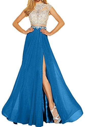 amp; Tuell Blau pietre Donna ressing sera Chiffon Elegante Party Prom abito A line festa abito NOTEBOOK ivyd di due vestito F8qq0