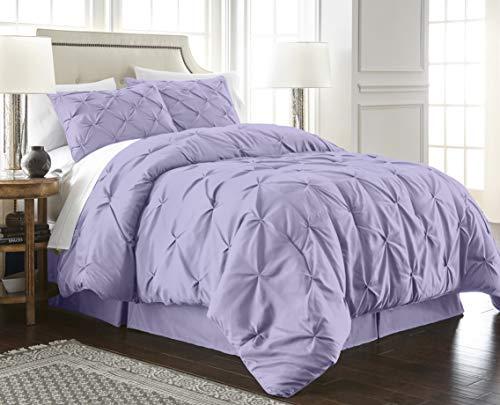 Chezmoi Collection Berlin 3-Piece Pintuck Pinch Pleat Bedding Comforter Set (Queen, Lavender) (Lilac Comforters)