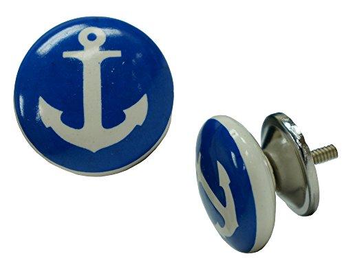 NACH ve-3288 Anchor Ball Knob, Ceramic, Blue/White, 1.5 x 1.5 x 1.5
