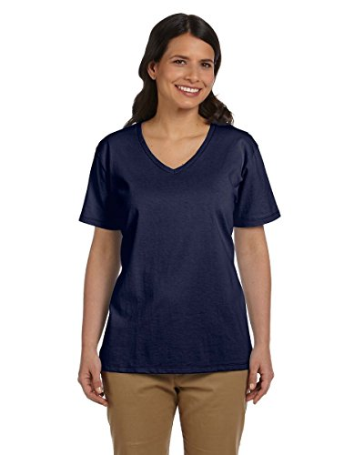 Navy V Women's Delifhtedhanes Tee neck Relax Jersey Fit qn0xxwv1HZ