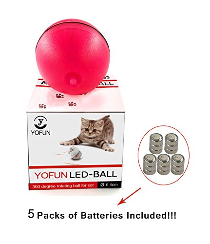 YOFUN Interactive Cat Toy 360 Degree Self Rotating Ball Automatic Light Toy Pet(Batteries Included,5 Packs Batteries in Total) 7