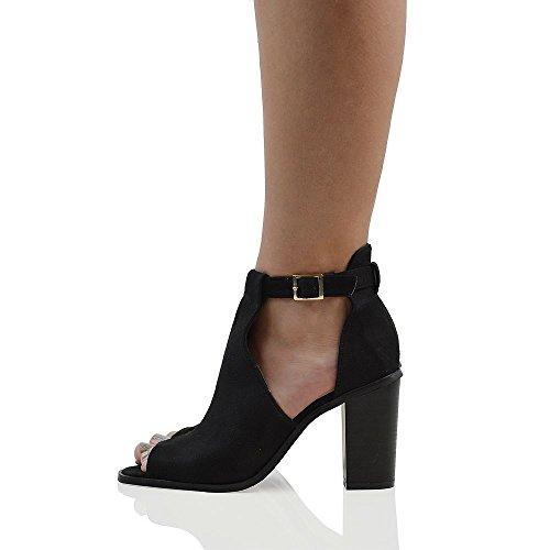 ESSEX GLAM Womens Peep Toe Ankle Strap Sandals Heels Black Faux Suede Ladies Shoes 9 B(M) US