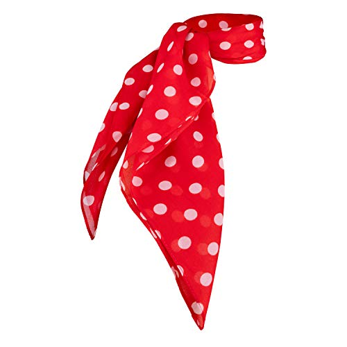 Sheer Chiffon Scarf Vintage Style Accessory for Women and Children (Red Polka Dot)