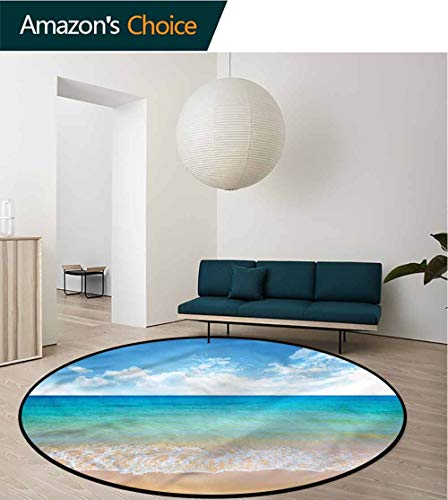 RUGSMAT Tropical Small Round Rug Carpet,Summer Season Scenic View Foam Mat Bedroom Decor Diameter-35 ()