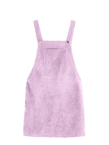 Romwe Women's Straps A-line Corduroy Pinafore Bib Pocket Overall Dress Pastel M