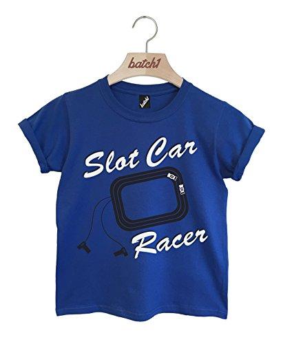 (Batch1 Slot Car Racer Retro Remote Control Racing Car Printed Kids T-Shirt (12-14 Years, Royal Blue))