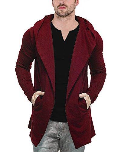 Veirdo Men's Cotton Regular Fit Hooded Cardigan