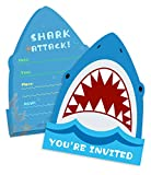 25 Pack Shark Birthday Party Invitations with