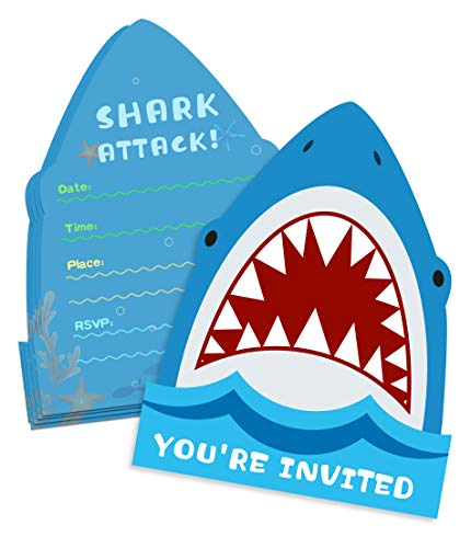 (25 Pack Shark Birthday Party Invitations with Envelopes-Double Sided -Shaped Fill-in Invitations-Shark Party Supplies)