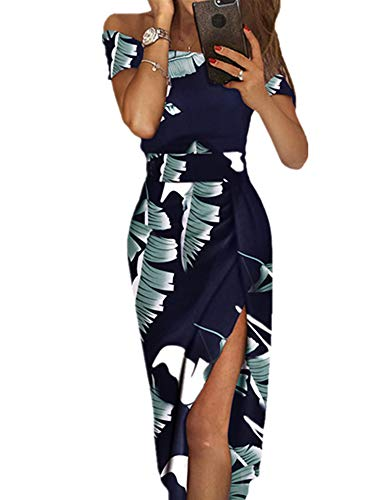 Ouregrace Womens Off Shoulder Metallic Glitter Ruched High Slit Evening Party Cocktail Dress (Blue Floral Print, (US 4-6) S) ()
