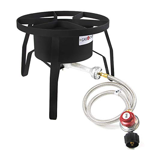 GasOne B-5300 One High-Pressure Outdoor Propane Burner Gas Cooker Welded Frame No Assembly required 0-20 PSI ()