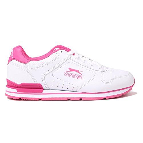 Slazenger Zapatillas Clásicas Para Mujer Con Cordones Acolchadas Zapatillas Con Forma De Tobillo Blancas / Cerise