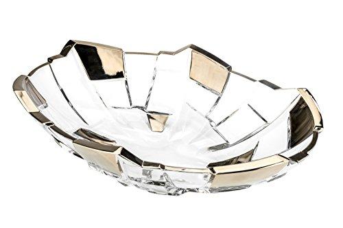 (Bohemia Jihlava JS22106, 14.5-Inch Sydney Oval Crystal Fruit Bowl, Decorative Centerpiece Wedding Gift Platter, Clear Czech Crystal Deep Plate, Bohemian Crystal)