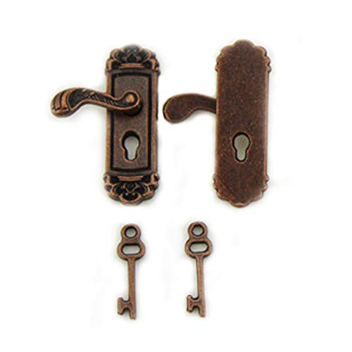 Price comparison product image Delicate Dollhouse Fancy Mini Door Lock Door Knobs Vivid Toy Model with Long Door Handle Dollhouse Miniature Accessorie Bronze (1 Pair)