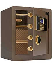 High Security Safe Digital Combination Very Large Capacity to Store Valuables Cabinet Safes for ID Papers, A4 Documents, Laptop Computers, Jewels,Brown