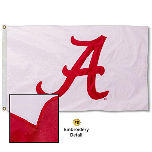University of Alabama White Embroidered and Stitched Nylon Flag