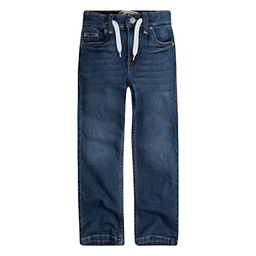 Levi's Boys' Big Slim Fit Elastic Waistband Jeans, West Lake with Drawstring, S